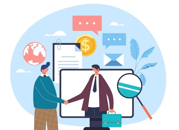 Dois empresários, trabalhadores, empresários, personagens, apertando as mãos internet, computador, on-line, negócio, negócio, conceito, apartamento