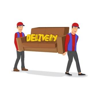 Dois entregadores carregando personagens de desenhos animados isolados de sofá em fundo branco. carregadores masculinos de uniforme. mudança de casa, trabalhadores de serviço de realocação
