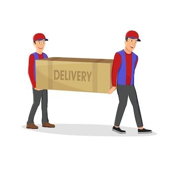 Dois entregadores segurando uma grande caixa isolada no fundo branco. ilustração dos desenhos animados