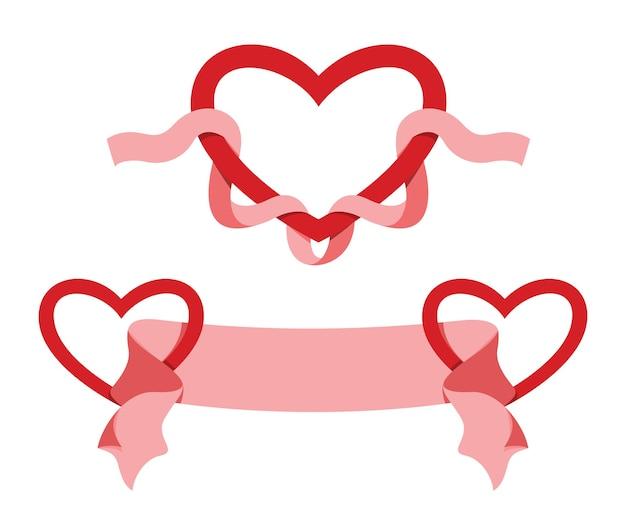 Dois estilos de fita e coração para a decoração do dia dos namorados.