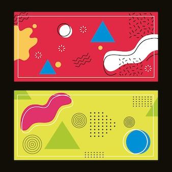 Dois estilos de memphis e formas geométricas