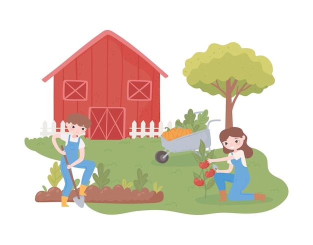 Dois fazendeiros plantando no jardim