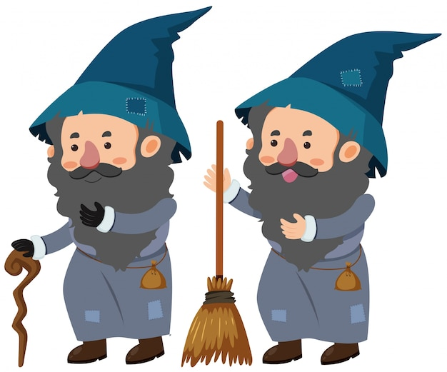 Dois feiticeiros com bastão e vassoura mágica