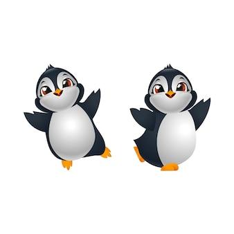 Dois felizes pinguins bonitos de desenho animado
