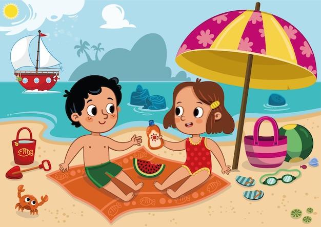 Dois filhos fofos se divertindo em uma praia tropical. ilustração vetorial