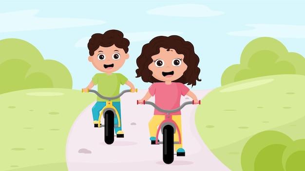 Dois filhos menino e menina andando de bicicleta