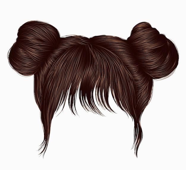 Dois fios de cabelo com franjas castanhas.