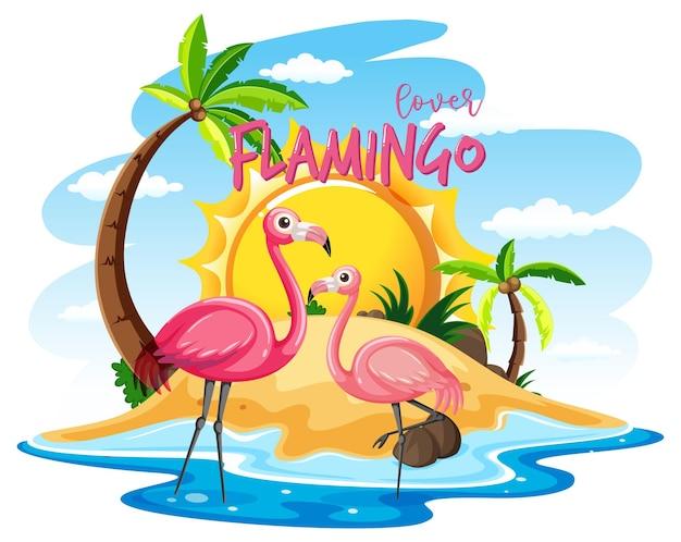Dois flamingos na ilha isolados Vetor grátis
