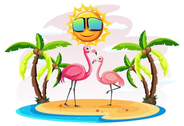 Dois flamingos na ilha isolados