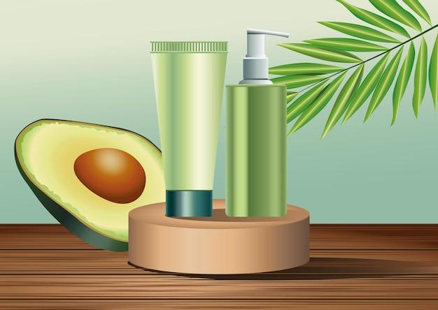Dois frascos de cuidados com a pele verdes e produtos em tubo em estágio dourado com ilustração de abacate