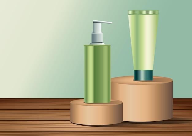Dois frascos de cuidados com a pele verdes e produtos em tubo na ilustração de estágios dourados