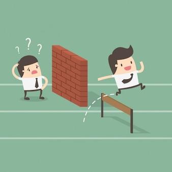 Dois funcionários com obstáculos em seu caminho