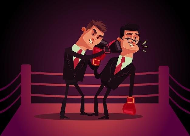 Dois funcionários de escritório, empresário personagens, boxe, ilustração dos desenhos animados