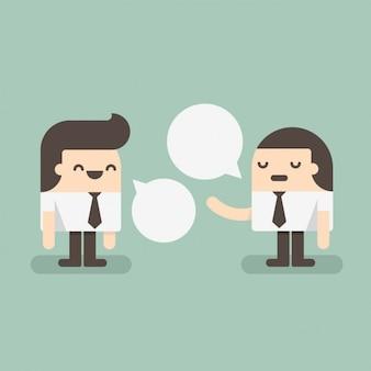 Dois funcionários que falam