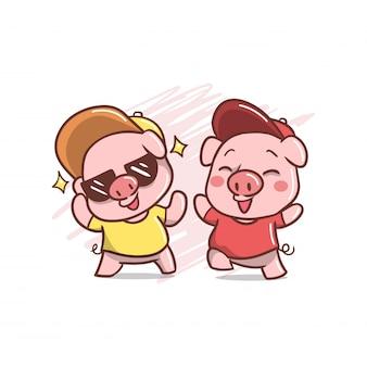 Dois, funky, cute, porco, ilustração