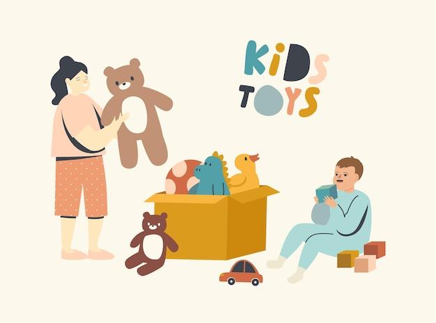 Dois garotinhos e garotas brincando com brinquedos sentados no chão com uma caixa cheia de coisas para brincar
