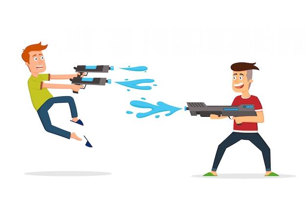 Dois garotos se divertindo atirando um no outro com armas de água de brinquedo.