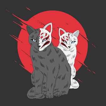 Dois gatos desenhados à mão com máscara de estilo japonês