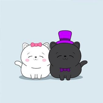 Dois gatos kawaii em vestidos de noiva.