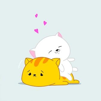 Dois gatos kawaii felizes e amorosos. ilustração