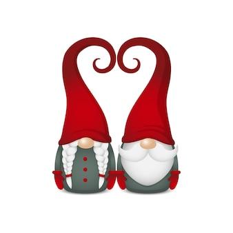Dois gnomos escandinavos em roupas verdes e luvas vermelhas e chapéus em forma de coração, um ao lado do outro, lindo casal nórdico, ilustração de personagem de clipart isolado para design