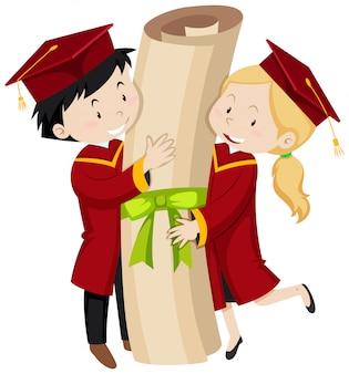 Dois, graduado, estudantes, segurando, gigante, grau