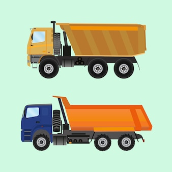 Dois grandes caminhões basculantes coloridos em estilo simples