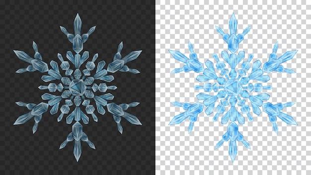 Dois grandes flocos de neve de natal transparentes e complexos em cores azuis claras para uso em fundo escuro e claro. transparência apenas em formato vetorial