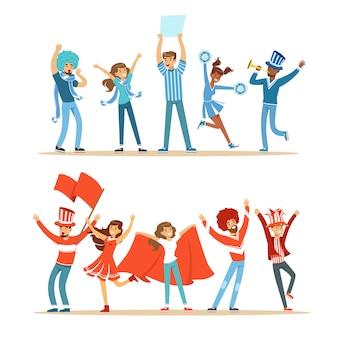 Dois grupos de fãs de esportes de futebol apoiando equipes em trajes vermelhos e azuis, gritando e aplaudindo no estádio