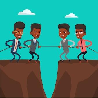 Dois grupos de pessoas de negócios, puxando a corda.
