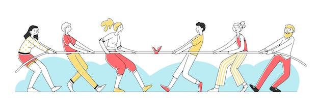 Dois grupos de pessoas puxando a corda ilustração