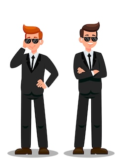 Dois guarda-costas em personagens de desenhos animados de atribuição