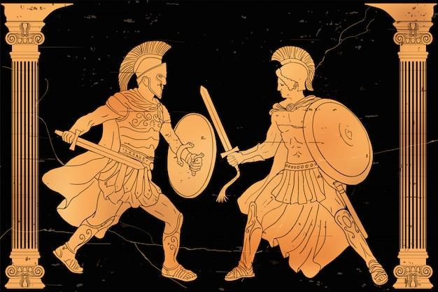 Dois guerreiros gregos antigos com uma espada e um escudo nas mãos em batalha.
