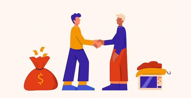 Dois homem dos desenhos animados, fazendo acordo de venda, apertando a mão, trocar dinheiro para ilustração plana de coisas