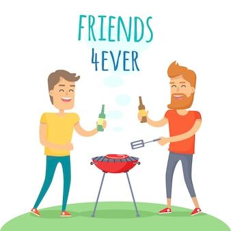 Dois homem frito carne no churrasco amigos para sempre