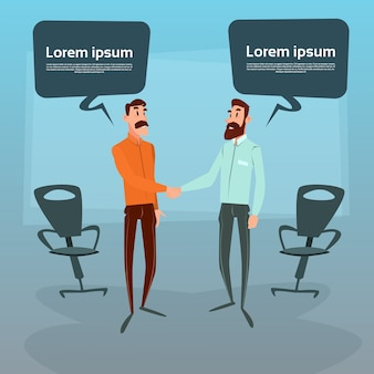 Dois, homem negócios, mão, agitação Vetor Premium
