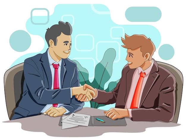 Dois homens, apertando as mãos para um acordo