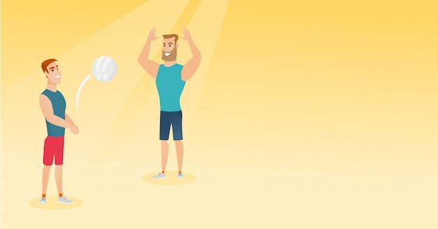 Dois homens caucasianos jogando vôlei de praia