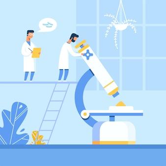 Dois homens cientistas trabalhando em novos comprimidos de criação