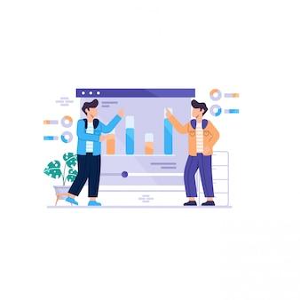 Dois homens com gráficos na ilustração de conceito de painel da web