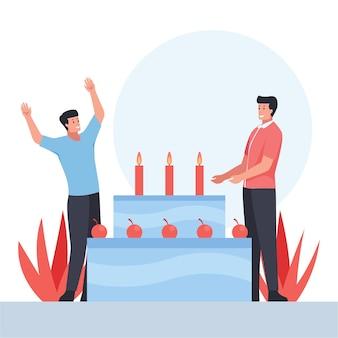 Dois homens com um gesto feliz comemorando a festa de aniversário