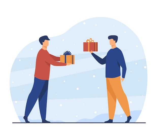 Dois homens dando presentes um ao outro. amigo, presente, ilustração plana de festa. ilustração de desenho animado