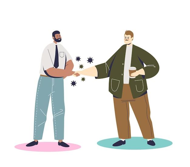 Dois homens de desenho animado apertando as mãos durante a epidemia de coronavírus