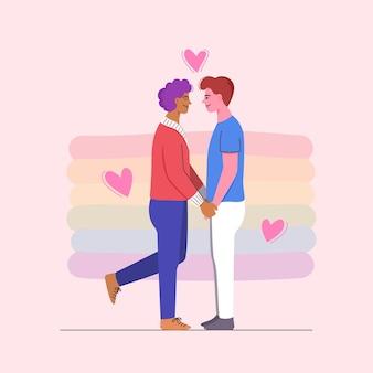 Dois homens de mãos dadas em um encontro romântico