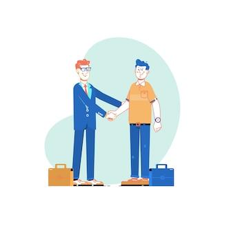 Dois homens de negócios apertam as mãos. conceito de reunião de parceria de negócios.