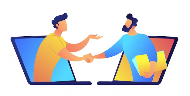 Dois homens de negócios que falam através das telas do portátil vector a ilustração.