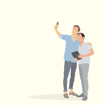 Dois homens de silhueta tirando foto de selfie