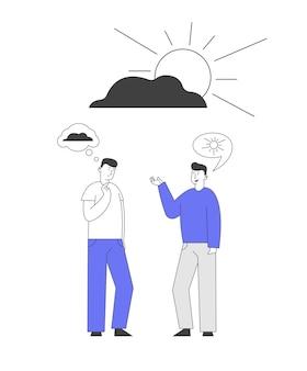 Dois homens discutindo entre si, tendo diferentes pontos de vista e atitudes de vida.