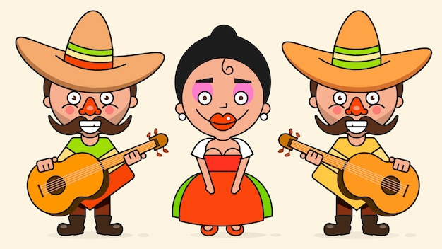 Dois homens e uma mulher com guitarras em roupas nativas e sombreros