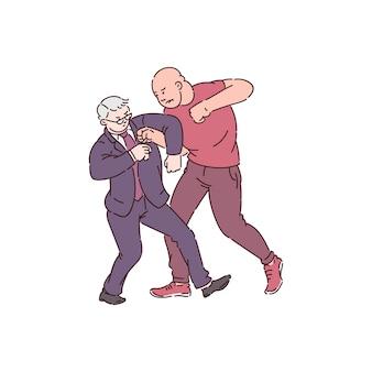 Dois homens em ação de luta, um homem forte e raivoso ataca um velho empresário